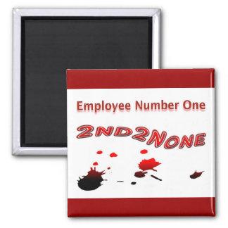El empleado le agradece empleado número uno imán cuadrado