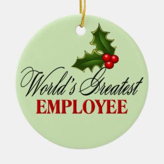 El empleado más grande del mundo adorno navideño redondo de cerámica