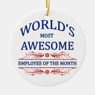 El empleado más impresionante del mundo del mes adorno navideño redondo de cerámica
