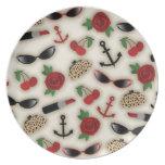 El encanto del vintage inspiró la placa de la mela plato de comida