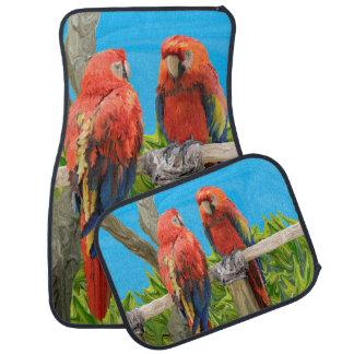El encaramarse de los loros del Macaw del escarlat Alfombrilla De Auto