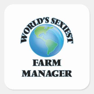 El encargado más atractivo de la granja del mundo pegatinas cuadradas