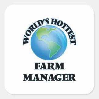 El encargado más caliente de la granja del mundo pegatinas cuadradas