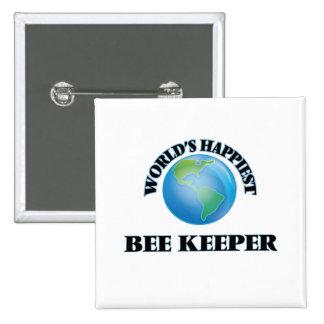 El encargado más feliz de la abeja del mundo pin cuadrada 5 cm