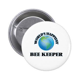 El encargado más feliz de la abeja del mundo pin redondo 5 cm