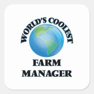 El encargado más fresco de la granja del mundo calcomanías cuadradas