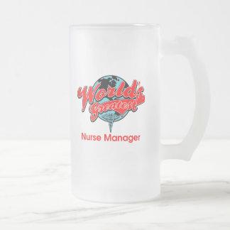 El encargado más grande de la enfermera del mundo taza de cristal