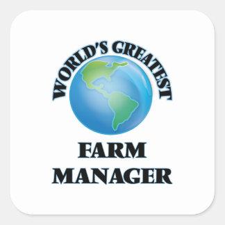El encargado más grande de la granja del mundo pegatina cuadradas personalizadas