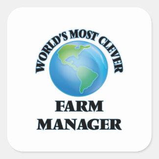 El encargado más listo de la granja del mundo pegatinas cuadradases