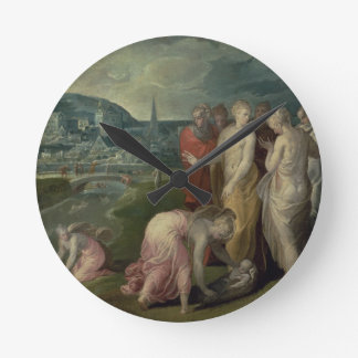 El encontrar de Moses (aceite en lona) Reloj Redondo Mediano