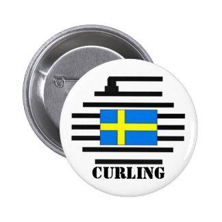El encresparse de Suecia Pin Redondo De 2 Pulgadas