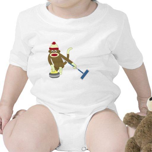 El encresparse olímpico del mono del calcetín camiseta