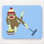 El encresparse olímpico del mono del calcetín alfombrilla de ratones