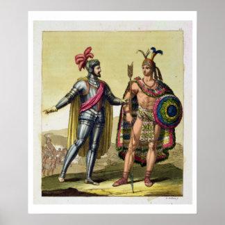 El encuentro entre Hernando Cortes 1485-1547 Posters
