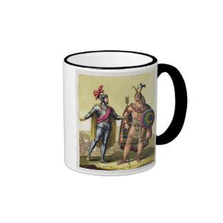 El encuentro entre Hernando Cortes (1485-1547) Taza De Dos Colores