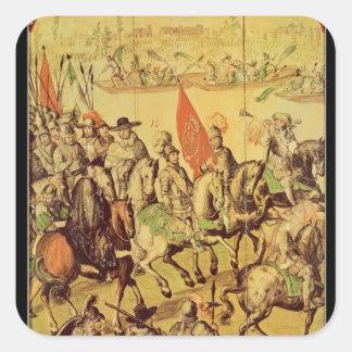 El encuentro entre Hernando Cortes Pegatina Cuadrada