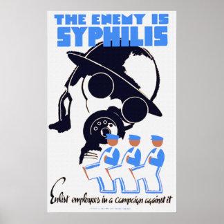 El enemigo es poster de la sífilis