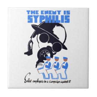 El enemigo es sífilis azulejo cuadrado pequeño