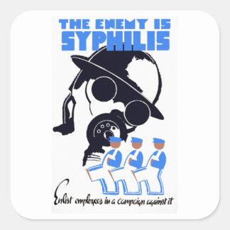 El enemigo es sífilis pegatina cuadrada