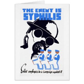 El enemigo es sífilis tarjeta de felicitación