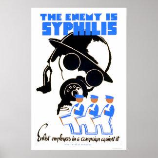 El enemigo es sífilis WPA 1938 Póster