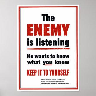 El enemigo está escuchando - WWII Póster