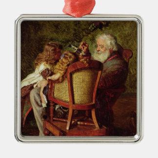 El engranaje diferencial del abuelo adorno cuadrado plateado