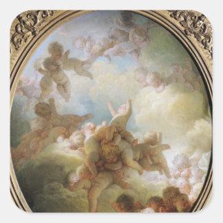 El enjambre de los Cupids, c.1767 Pegatina Cuadrada