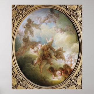 El enjambre de los Cupids, c.1767 Póster