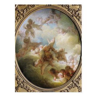 El enjambre de los Cupids, c.1767 Postal