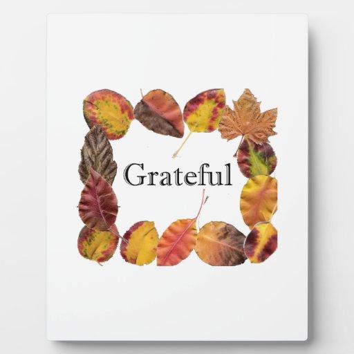 El enmarcar de las hojas de Autum agradecido Placa Para Mostrar
