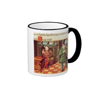 El Enrique VIII que toca una arpa con su tonto lo Taza De Dos Colores