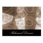 El ensayo de los rosas del boda del vintage invita postal