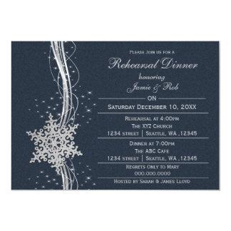 el ensayo de plata azul del boda del copo de nieve invitación 12,7 x 17,8 cm