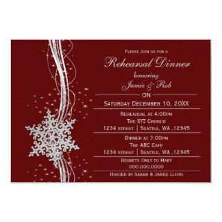 El ensayo de plata rojo del boda del copo de nieve invitación 12,7 x 17,8 cm