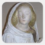 El Entombment, detalle de un santo femenino, 1490 Pegatinas Cuadradas