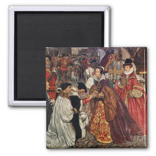El entrar de Queen Mary y de princesa Elizabeth Imán Cuadrado