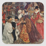 El entrar de Queen Mary y de princesa Elizabeth Pegatina Cuadrada