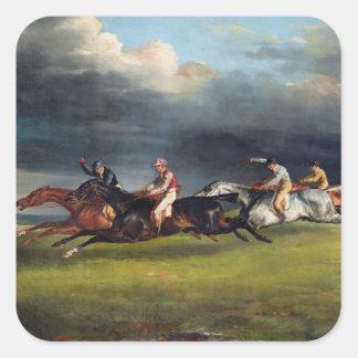 El Epsom Derby, 1821 Pegatina Cuadrada