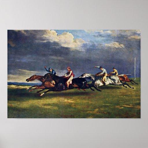 El Epsom Derby de Géricault Jean Louis Théodore ( Póster