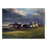 El Epsom Derby de Géricault Jean Louis Théodore ( Tarjeta De Felicitación