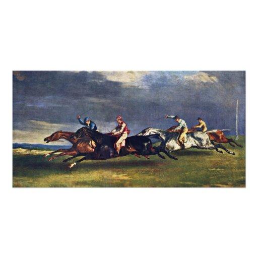 El Epsom Derby de Géricault Jean Louis Théodore ( Tarjetas Con Fotos Personalizadas