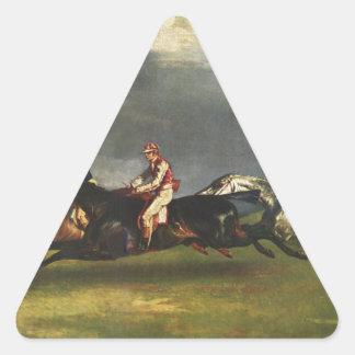 El Epsom Derby de Theodore Gericault Pegatina Triangular