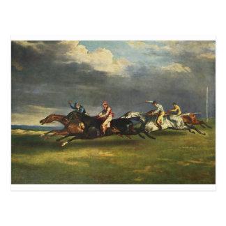 El Epsom Derby de Theodore Gericault Tarjetas Postales