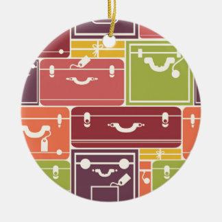 El equipaje empaqueta el modelo adorno navideño redondo de cerámica