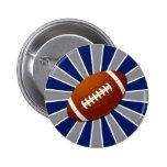 El equipo colorea fútbol retro azul y de plata pin