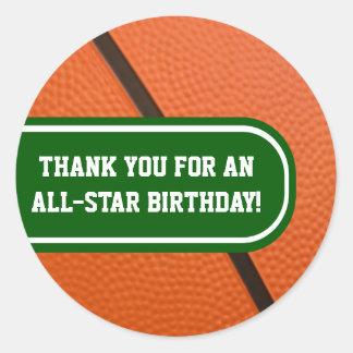 El equipo de baloncesto colorea favor de fiesta ad etiqueta redonda