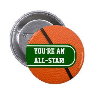 El equipo de baloncesto colorea favor de fiesta ad pins