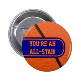 El equipo de baloncesto colorea favor de fiesta ad pin