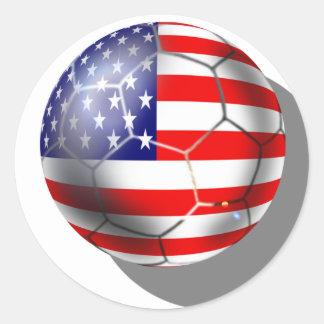 El equipo de fútbol de los E.E.U.U. aviva la bola  Etiquetas Redondas